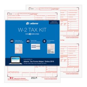 Adams® W-2 Tax Forms Kit For 40 Employees With Tax Forms Helper® Online 2019