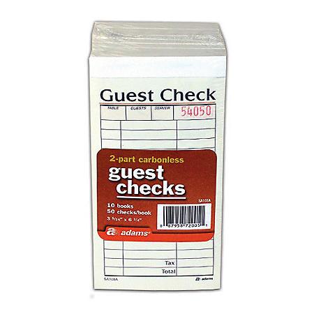 2-Part Carbonless Guest Check - 50 checks/book - 10 pk.