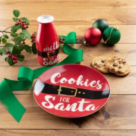 American Atelier Cookies for Santa Plate and Milk Bottle Holiday Gift Set (Assorted Styles)