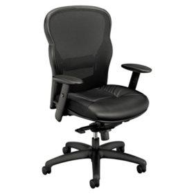 basyx VL701 Series Leather  High-Back Swivel/Tilt Work Chair, Black