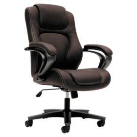 basyx VL402 Series Executive High-Back Chair, Brown