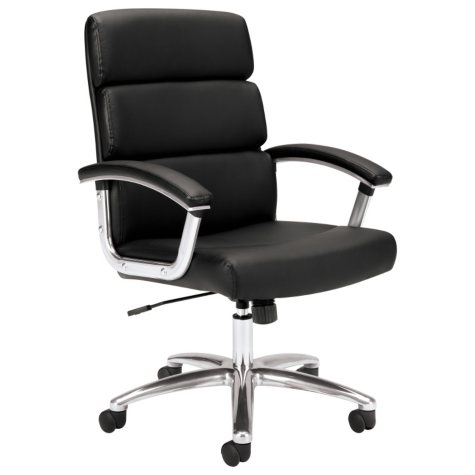 basyx VL103 Executive Mid-Back Leather Chair, Black