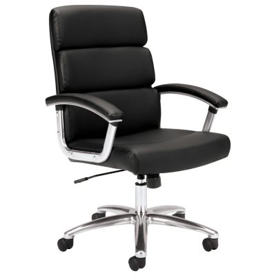 Basyx VL103 Executive Mid Back Leather Chair, Black