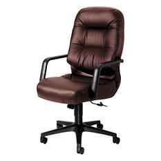HON - Leather 2090 Pillow-Soft Series Executive High-Back Swivel/Tilt Chair - Burgundy