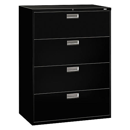 HON 600 Series Four-Drawer Lateral File, 42w x 18d x 52.5h, Assorted Colors