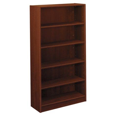 Basyx BL Laminate Series Bookcase, 5 Shelves, 32w x 13.81d x 65.18h, Medium Cherry
