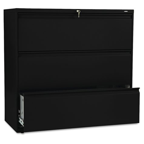 """HON - 800 Series Lateral File Cabinet, 3-Drawer, Letter/Legal, 42"""" Width - Black"""