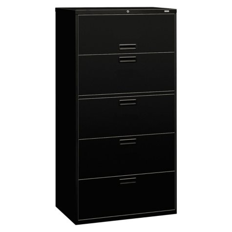 "HON 36"" 500 Series 5-Drawer Letter/Legal Lateral File, Black"