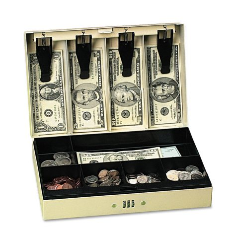 PM Company Steel Cash Box with 6 Compartments, 3-Number Combination Lock - Pebble Beige