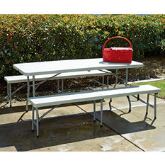 Work Smart Combo-One 6' Folding Table and Bench, White