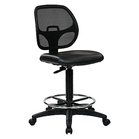 """Work Smart Deluxe Mesh Back Drafting Chair with 20"""" Diameter Foot ring - Black"""
