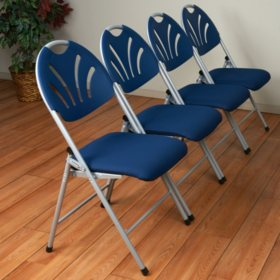 Work Smart Folding Chair, Silver/Blue - 4 pack
