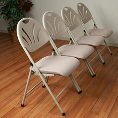 Work Smart Folding Chair with Plastic Fan Back and Mesh Seat - Beige - 4 Pack