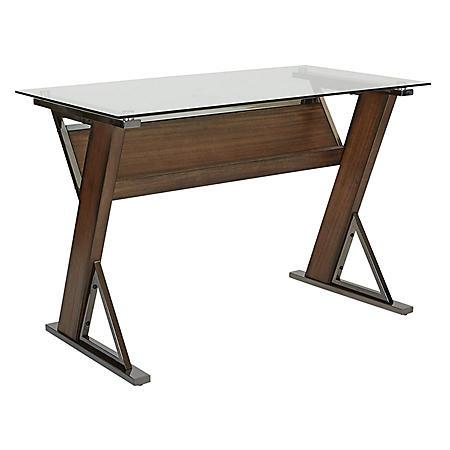 OSP Home Furnishings Eureka Long Desk with Caramel Wood and Black Nickel Metal