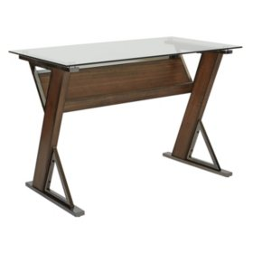 OSP Home Furnishings Eureka Long Desk with Caramel Wood and Black Nickel Metal