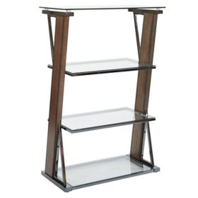 OSP Home Furnishings Eureka 4-Shelf Bookcase with Caramel Wood and Nickel Metal Tube