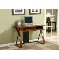 OSP Home Furnishings Aurora Computer Desk with Powder-Coated Black Accents