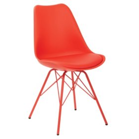 OSP Home Furnishings Emerson Side Chair with 4 Leg Base, Various Colors