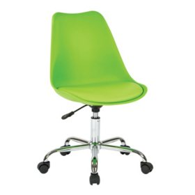 OSP Home Furnishings Emerson Office Chair with Pneumatic Chrome Base, Various Colors