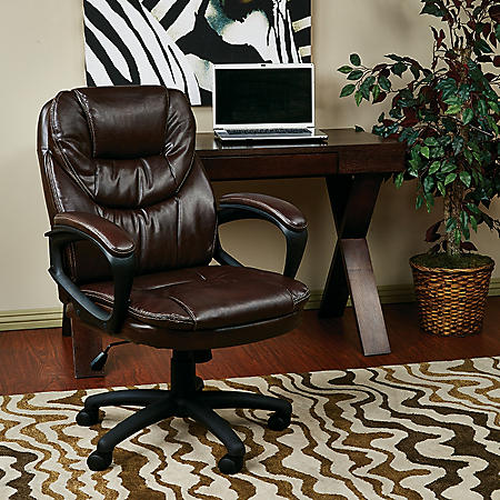 Work Smart Faux Leather Managers Chair with Padded Arms (Assorted Colors)