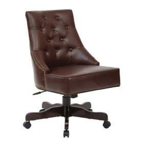 OSP Home Furnishings Rebecca Tufted Back Office Chair in Bonded Leather with Nailhead Accents Assorted Colors