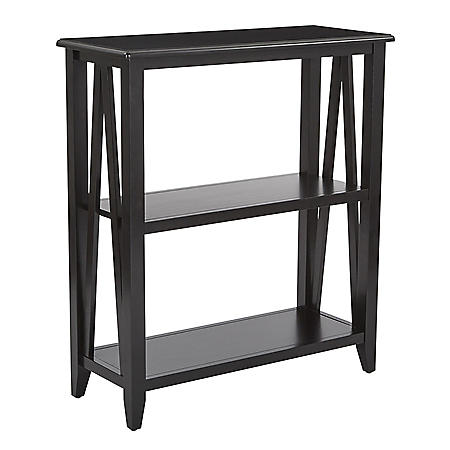 OSP Home Furnishings Santa Cruz 3-Shelf Bookcase, Black