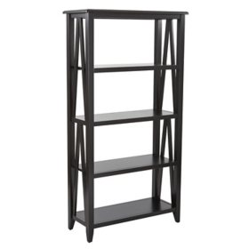 OSP Home Furnishings Santa Cruz 5-Shelf Bookcase, Black