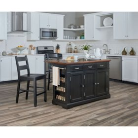 INSPIRED by Bassett, Farmhouse Basics Kitchen Island, Black