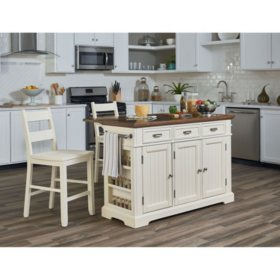INSPIRED by Bassett, Farmhouse Basics Kitchen Island, White