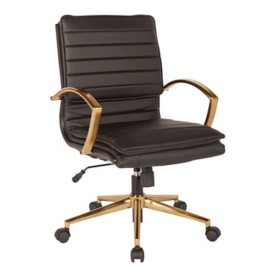OSP Home Furnishings Mid-Back Faux Leather Chair with Gold Finish in Faux Leather, Various Colors