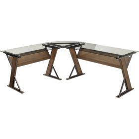 OSP Home Furnishings Eureka Desk and Corner Return with Caramel Wood