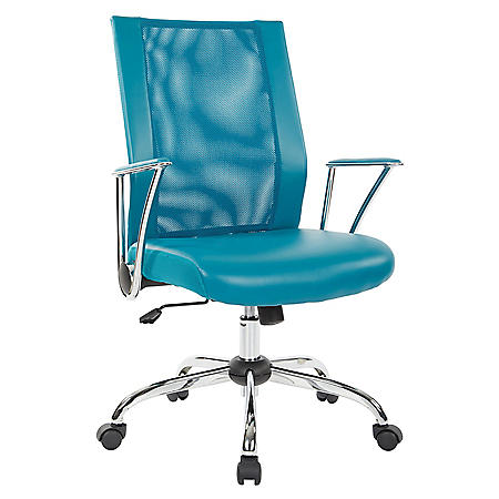 OSP Home Furnishings Bridgeway Office Chair with Blue Woven Mesh and Chrome Base