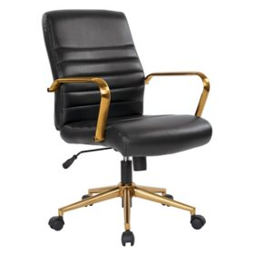 OSP Home Furnishings Baldwin Mid-Back Faux Leather Chair with Gold Finish Arms and Base, Various Colors