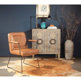 OSP Home Furnishings GT Chair in Faux Leather with Black Sled Base, Various Colors