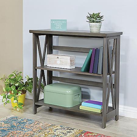 OSP Home Furnishings Hillsboro 3-Shelf Bookcase in Gray Wash Finish with Folding Assembly