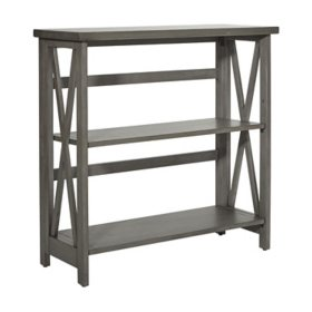 OSP Home Furnishings Hillsboro 3-Shelf Bookcase in Gray Wash Finish with Folding Assembly