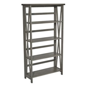 OSP Home Furnishings Hillsboro 5-Shelf Bookcase in Gray Wash with Folding Assembly