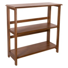 OSP Home Furnishings Bandon 3-Shelf Bookcase in Ginger Brown with Folding Assembly