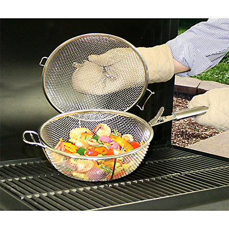 Backyard Classic Professional Gourmet Stainless Steel Mesh Basket with Lid