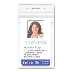 Advantus Resealable ID Badge Holder, Vertical, 2 5/8w x 3 3/4h, Clear - 50/Pack