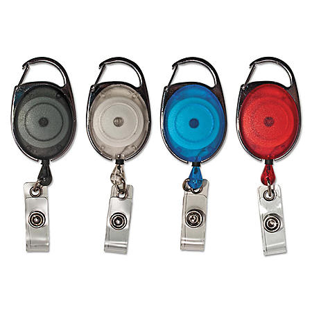 "Advantus - Carabiner-Style Retractable ID Card Reel, 30"" Extension, Assorted Colors -  20/PK"
