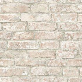 InHome White Washed Denver Brick Peel & Stick Wallpaper - Set of 2