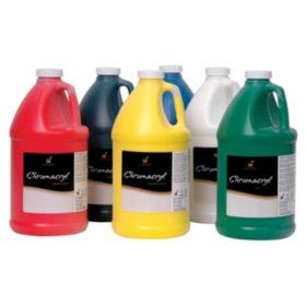 Chroma Chromacryl Premium Acrylic Paint, 1/2 Gallon, Assorted Colors, Set of 6