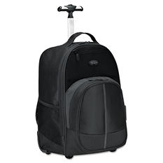 Targus - Compact Rolling Backpack, 19 1/3 x 7 1/2 x 13 4/10, Polyester -  Black