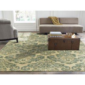 Seville Collection Handtufted Wool & Silkette Area Rug, Beige & Jade