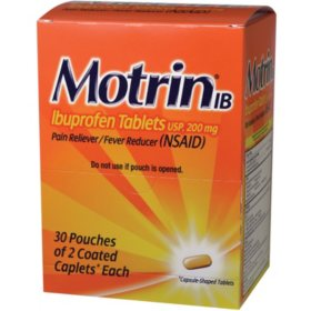 Motrin, 200mg (30 pouches, 2 caplets each)