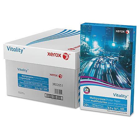 Xerox® Vitality Multipurpose Printer Paper, 8 1/2 x 14, White, 5,000 Sheets
