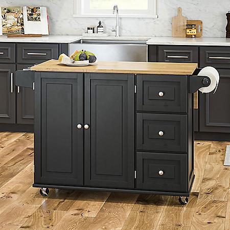 Homestyles Blanche Black Drop-Leaf Kitchen Cart