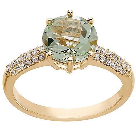 8MM Prasiolite and 0.18 CT. T.W. Diamond Ring in 14K Yellow Gold