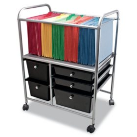 Advantus Letter/Legal File Cart with 5 Storage Drawers, 21.63W x 15.25D x 28.63H (Black)